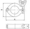Хомут шарнирный с барашковой гайкой 1-штырьковый KF16 длина 63 мм алюминий (CLA-KF16)