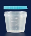 Контейнер для образцов полипропиленовый, V-40 мл, прозрачный, с плотно закрывающейся крышкой, нестерильный (PP) (087.02.001)