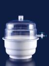 Эксикатор вакуумный с крышкой и краном из поликарбоната, d-250 мм, с полипропиленовой нижней частью (039.12.250)