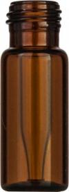 Виалы 0.2 мл N9 под винтовую крышку, 11.6 мм x 32 мм, темные стеклянные, со встроенной конической стеклянной вставкой 0.2 мл, с плоским дном, 100 шт/уп. (702008)
