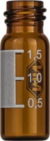 Виалы 1.5 мл N10 под винтовую крышку, 11.6 мм x 32 мм, темные стеклянные, с плоским дном, 100 шт/уп. (702013)