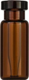 Виалы 0.2 мл N11 под обжимную крышку, 11.6 мм x 32 мм, темные стеклянные, со встроенной конической стеклянной вставкой 0.2 мл, с плоским дном, 100 шт/уп. (702014)